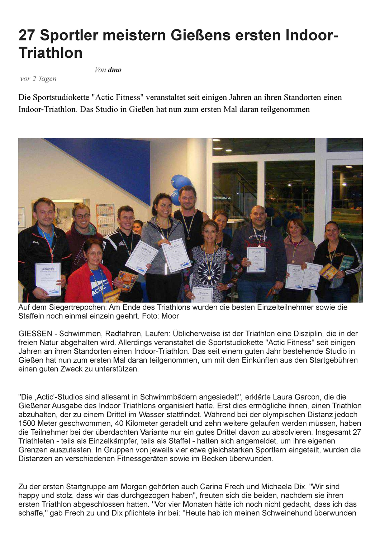 Artikel des Gießener Anzeigers über den 3. nationalen Indoor Triathlon